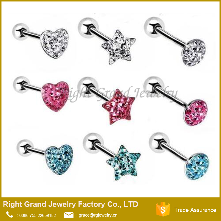 HEART FERIDO MULTI GEM ROUND TOP FLAT PAVED CZ CRYSTAL TONGUE RING BARBELL STUD