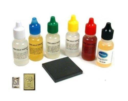 Gold Testing Solutions Kit 10k 14k 18k 22k Silver Platinum Scratch Stone