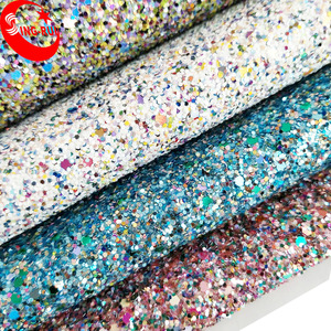 Very Popular Wenzhou Shiny 3D Chunky Glitter Leather Fabric Shoes Material