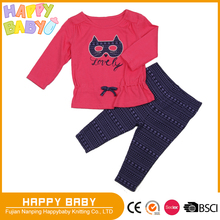 Printed Two Pcs Baby Girl Clothing 100% Cotton Jersery Pajama Long Sleeve T-shirts and Pants