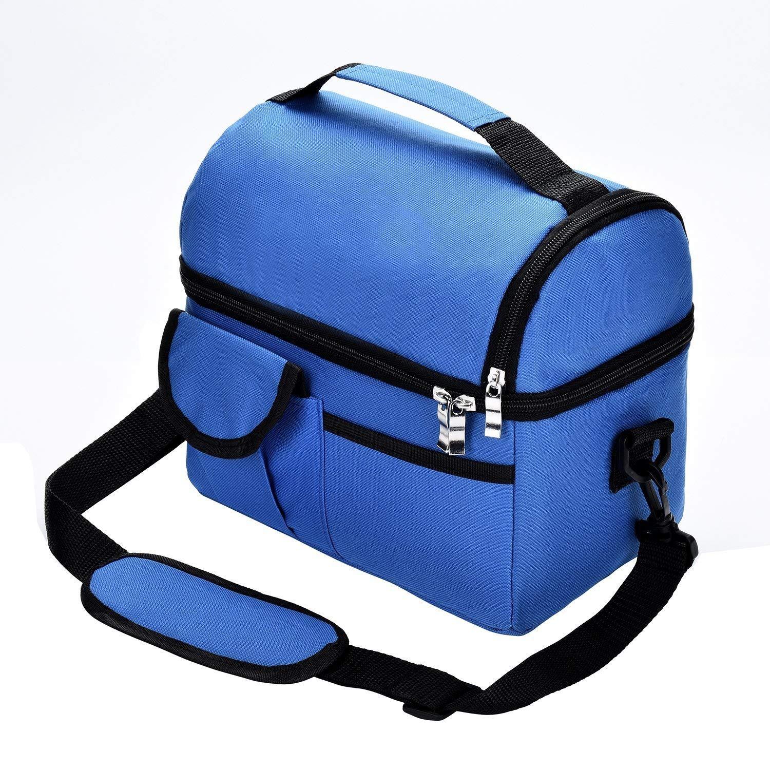 Insulated Lunch Bag,YOAYO Lunch Tote Bag with Adjustable Shoulder Strap(Detachable), Meal Prep Oxford Cloth Thermal Bento Bag for Office/School/Picnic,Cooler Lunch Bag for Women/Men/Kids,Blue