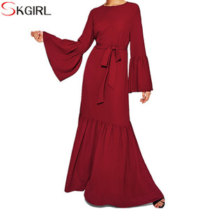 Buttoned Keyhole Ruffle Hem Hijab Long maxi Dress long sleeve dress wholesale beautiful elegant islamic women