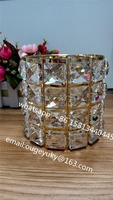 Gold candle holder cheap , cylinder candle holder with large glass beads wholesale