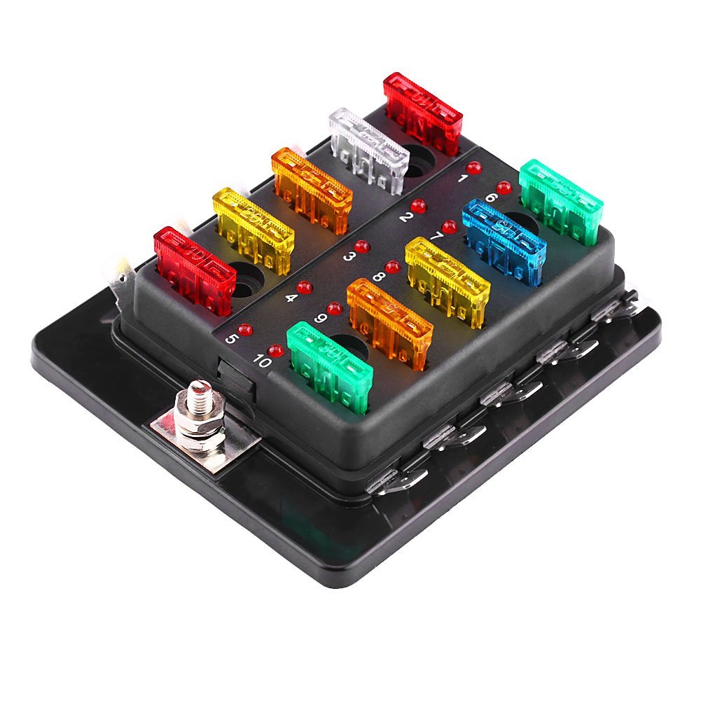 get quotations � 10 way circuit blade fuse box block holder with led  warning light kit for car van
