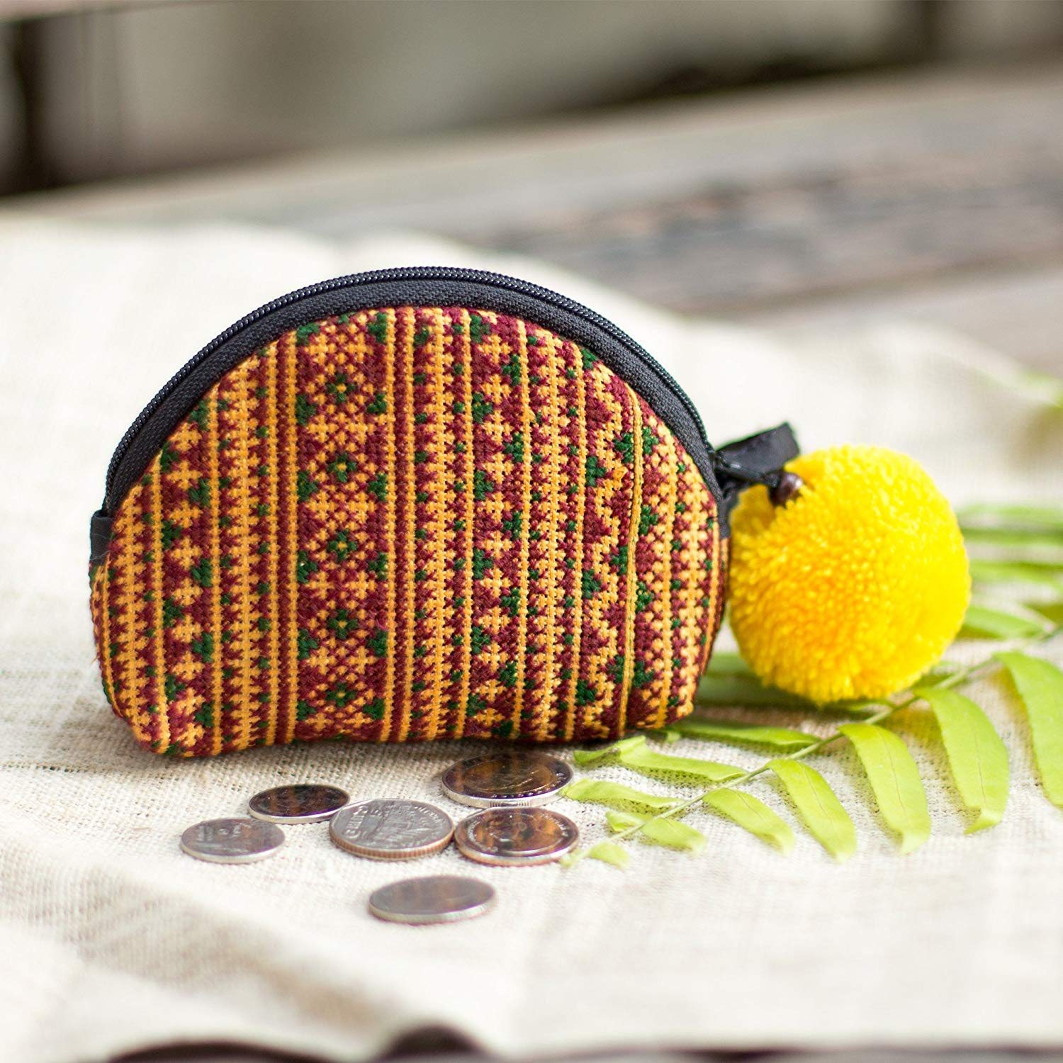 Changnoi One of a Kind Hill Tribe Hmong Embroidered Coin Purse, Mini Pouch for Women, Pom Pom Hippie Purse for Women in Brown