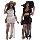 hollow out tassel white beach dress bikini crochet bathing suit cover up