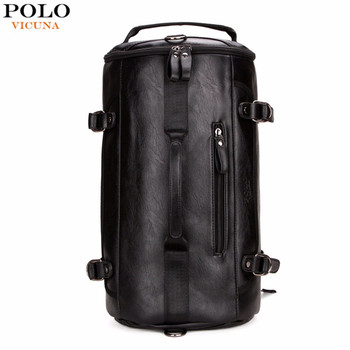 3d4dfb3b50 VICUNA POLO Personality Round Shaped Leather Man Travel Bag Black Sport  Backpack Famous Brand Duffel Bag