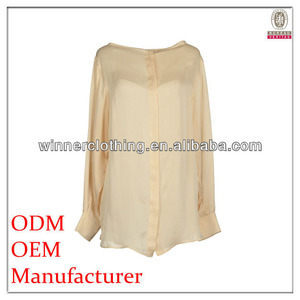 OEM service long sleeve collarless sexy silk blouses for women