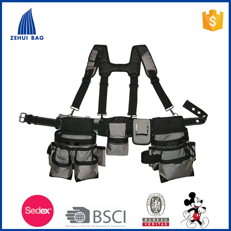 2017 Gray Tool-Belt bag Construction Suspender Strap Holster Pocket Pouch Bag Framer-Rig electrician leather tool bag