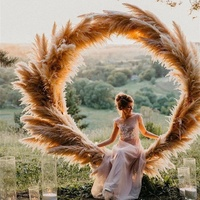 F-1404 Factory Wholesale Wedding Decoration Dry Flowers Dried Feather Natural Brown Pampas Grass Flower