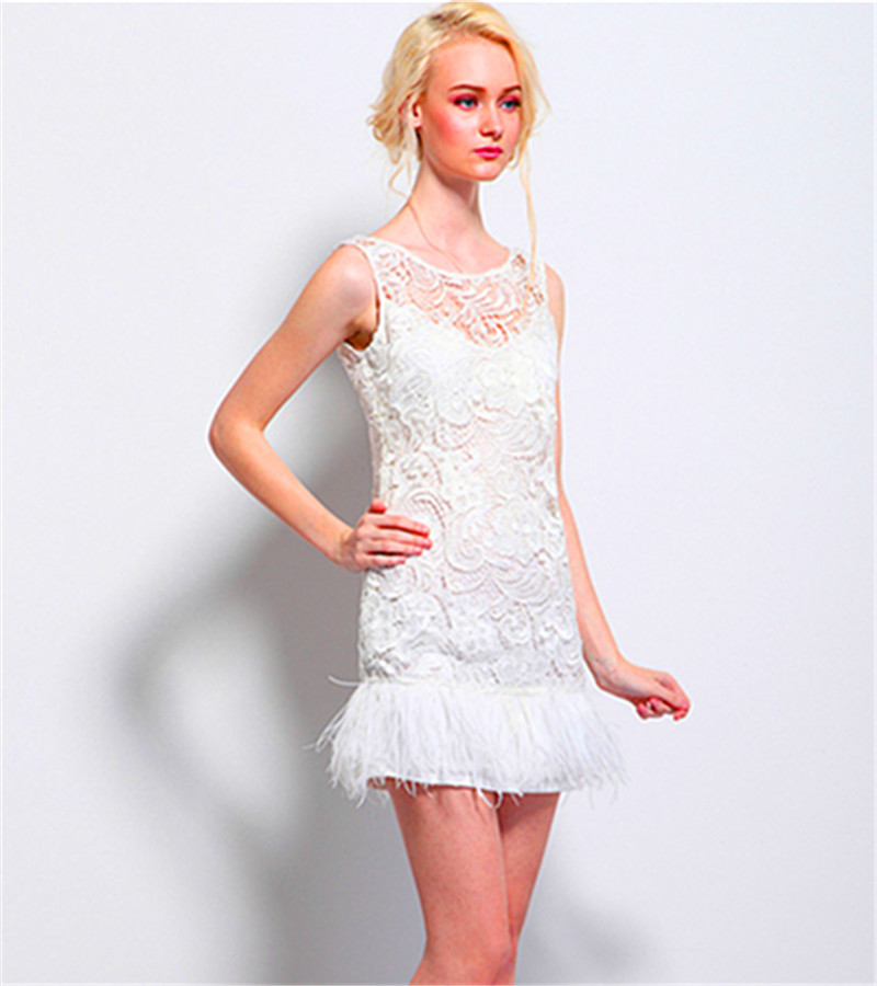 654d7c0e907 Get Quotations · 2015 Hot Sale Romantic Design Straight Mini Prom Dress  Sleeveless Lace Feathers Special Occasion Dress