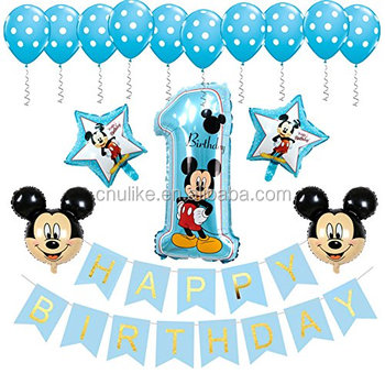 Mickey Mouse Foil Balloons Minnie Cartoon 1 Year Old Birthday Party Supplies Set Baby Shower