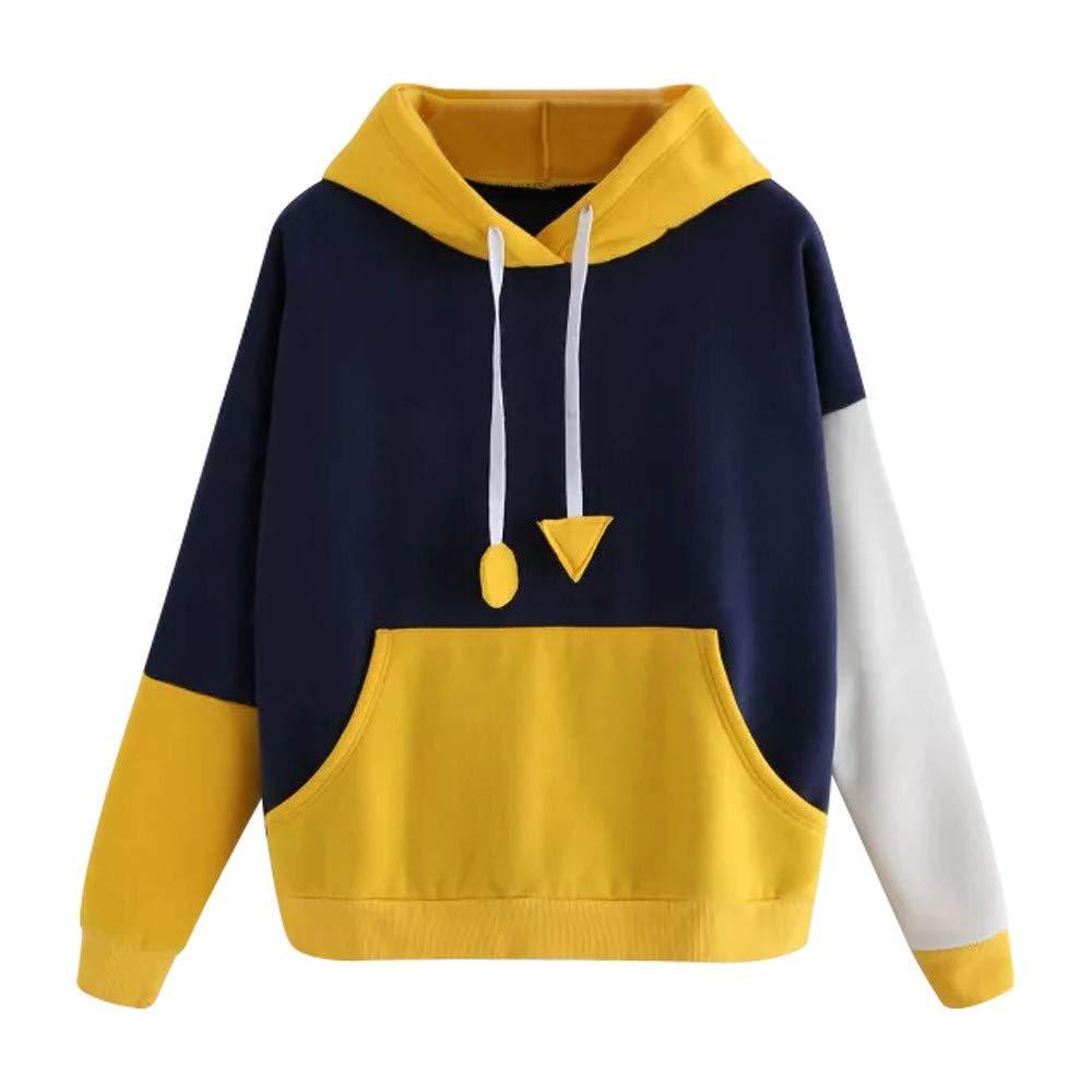 Women Teen Girls Fashion Hoodie Sweatshirt Cuekondy Long Sleeve Patchwork Pocket Loose Hooded Pullover Jumper Blouse