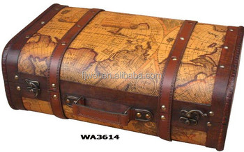 Olde World Map Decorative Wooden Suitcase Buy Suitcase Old Looking - Vintage world map on wood