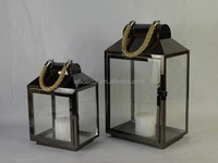 Gifts & Decor Contemporary Table Top Lantern Candle Holder Stand in Black Tin Metal