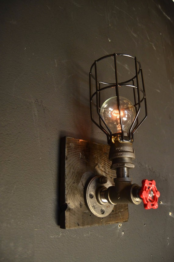 15 steampunk luminaire bois applique murale industrielle lampe ancienne home decor - Lampe murale industrielle ...