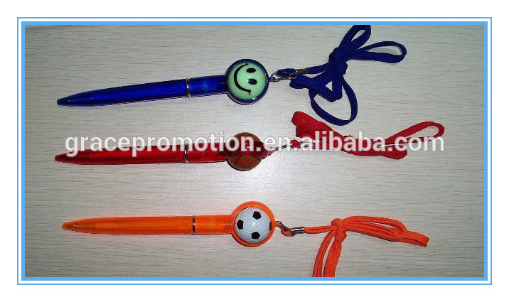Factory customized cheap ball pen with assorted color lanyard