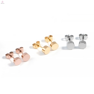 2019 Ip Gold Plating Cheap Wholesale Fashion Stainless Steel Jewelry Stud Earring For Woman