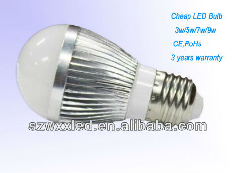 2013 Cheapest led bulb 5w <strong>e27</strong> with 3 years warranty