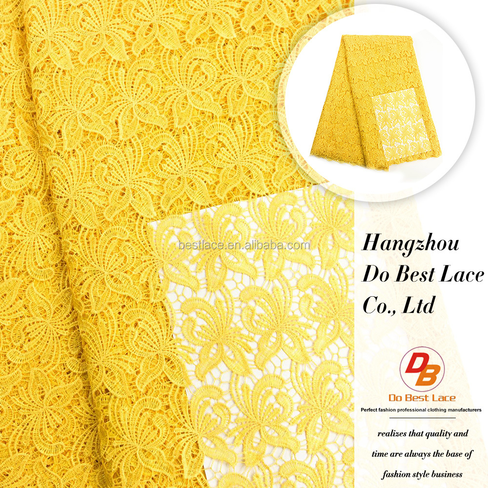 Yellow african lace materials embroidered guipure lace/cord lace fabric