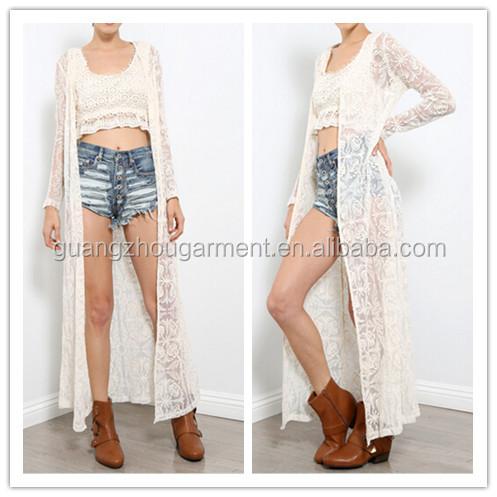 2014 Fashion Women Casual Beach Over Wear Long Sleeve Crochet Maxi ...