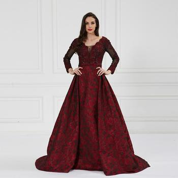 Crimson Long Sleeve Queen Lace Embroidered Ball Gown Long Evening Party Wedding Dresses Buy Wedding Dress Elegant Dress Maxi Dress Product On