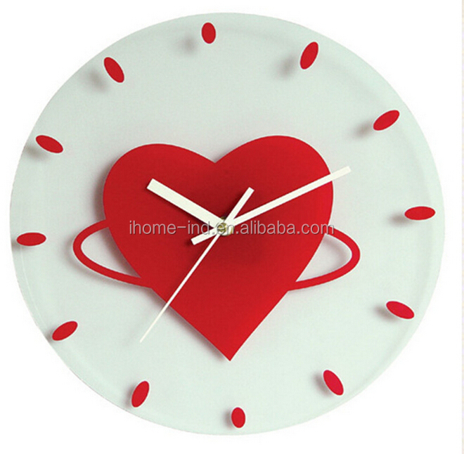 New Modern Design Gl Wall Clock Decorative Clocks Heart Shaped For Wedding Decorations