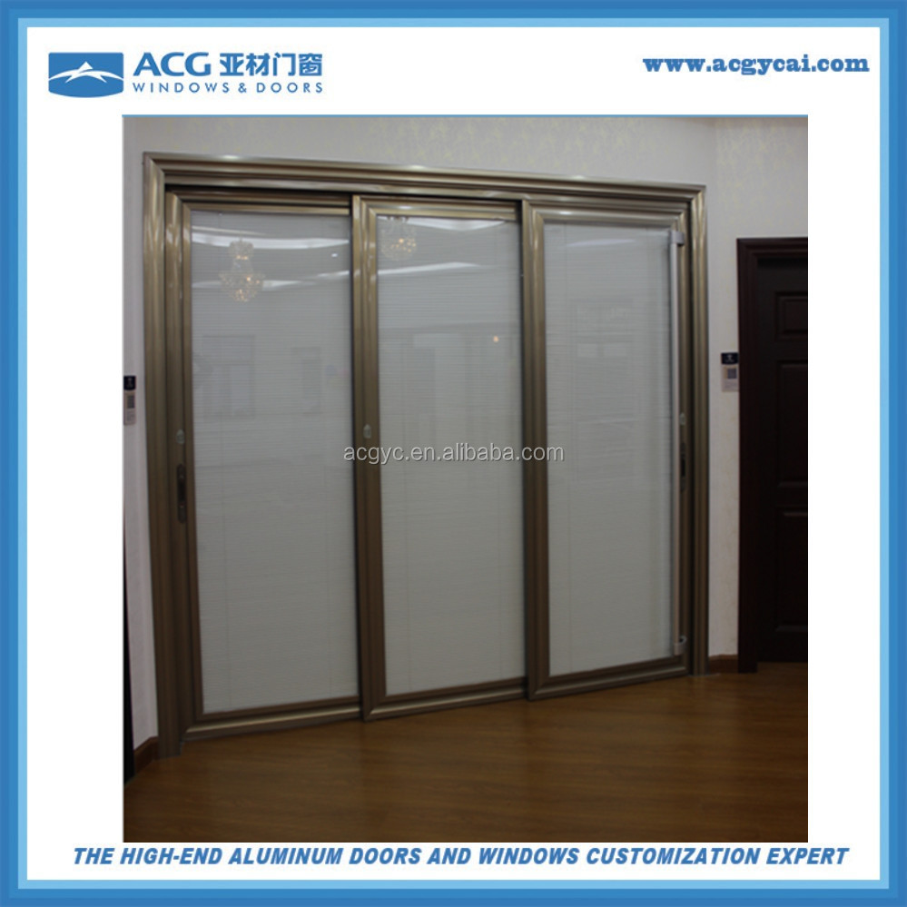 Champagne Color Aluminum Frame Glass Door With Manual Roller Shutter Between Glass Buy Aluminum Frame Glass Door With Manual Roller Shutter Between