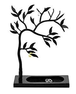 Geff House Jewelry Tree Organizer Display for Necklace, Bracelets, Earrings & Rings (White)