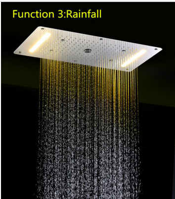 LED Ceilling 5 Functions Stainless Steel Mirror Chrome bathroom shower head