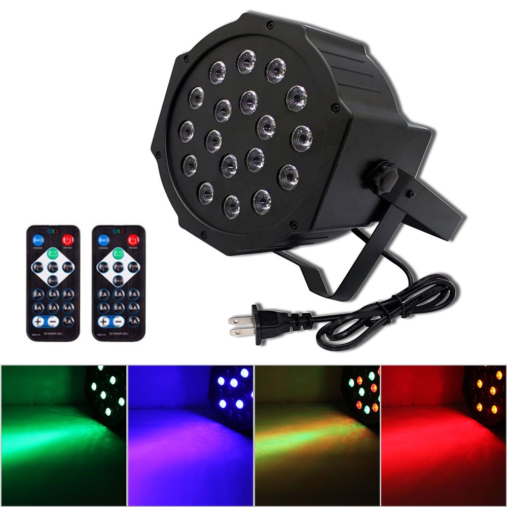 U`King RGB Party Lights, 18 LEDs Stage Lights with DMX Controller and 2 IR Remote for DJ Club Party Bar Disco Neon Party Stage Lighting