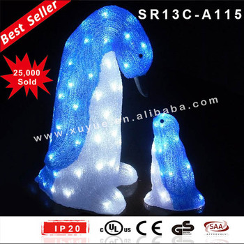 outdoor led acrylic penguin christmas decoration with led light