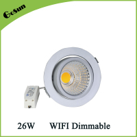 WIFI Dimmable 26W LED Gimbal Ceiling Recessed Downlight Retrofit/Rotatable Cabinet Light Fixtures/Swivel Spot Light for Wall
