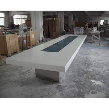 White Green Corian Joint Seamless Surface Office Table Triangle - Corian conference table