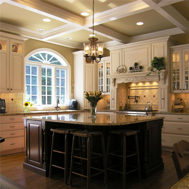 NJ style pre made modular solid wood kitchen cabinets
