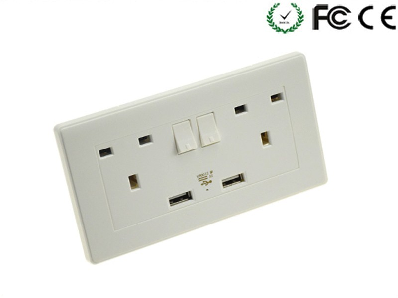 Cheaper Uk Usb Wall Electrical Socket Set 5v1a/2a/4.8a With Twin Usb ...