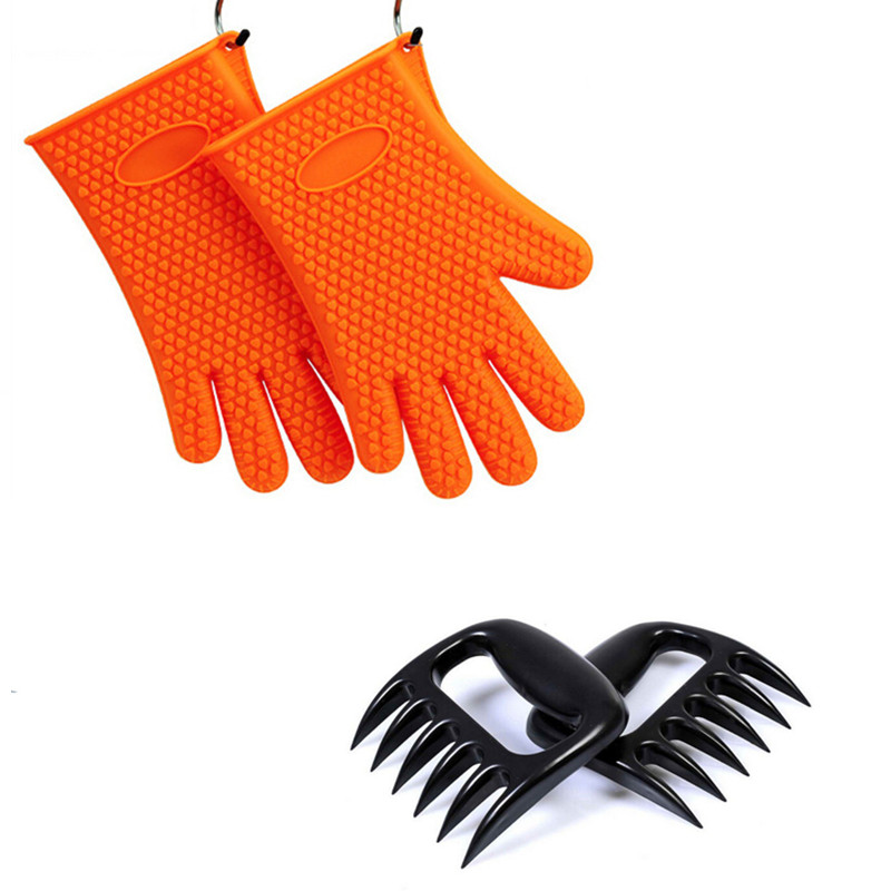 Amazon Top Selling Silicone Oven Gloves And Bear Barbecue Meat Claws Set