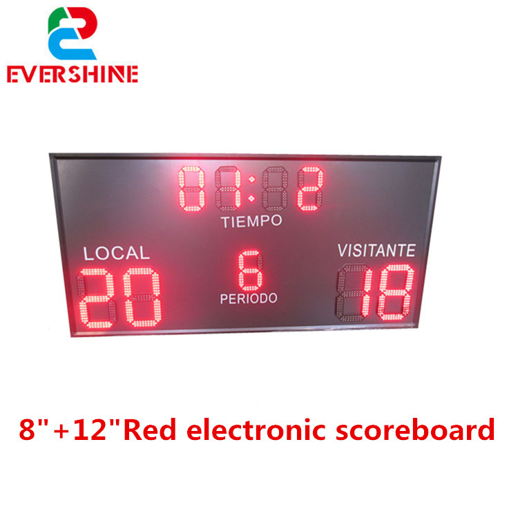 Evershine 8+12 inch red color outdoor electronic snooker scoreboard led cricket digital score board