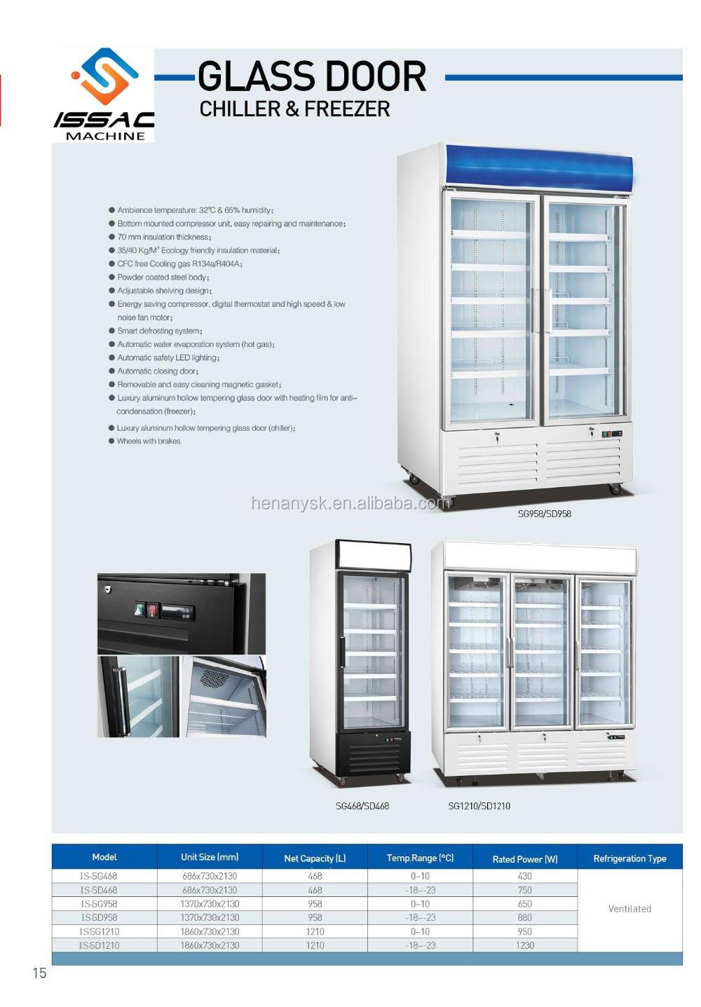 -18~-23 Upright 2 Two Glass Door Defrost Freezer