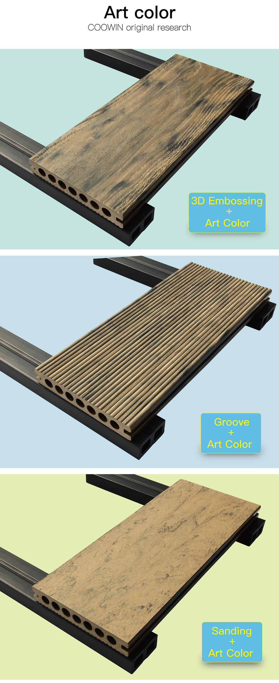 Hollow composite decking ภายนอก decking board TS-03