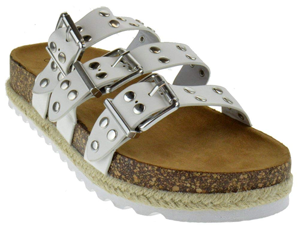 8e1e0904332e Get Quotations · Nature Breeze yanna 03 Womens Studded Buckle Strappy Twine  Cork Wedge Sandals