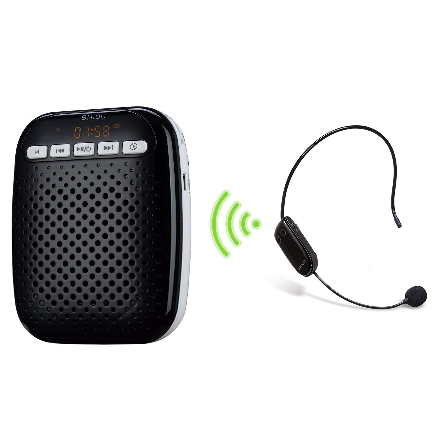 Wirelss Voice Amplifier 10W Portable Pa System with Cordless Microphone Headset Rechargeable Voice Enhancer Personal Speech Amplifier for Teachers, Fitness Instructors - Black & White