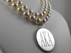 AKA silver plated and pearl double strand necklace