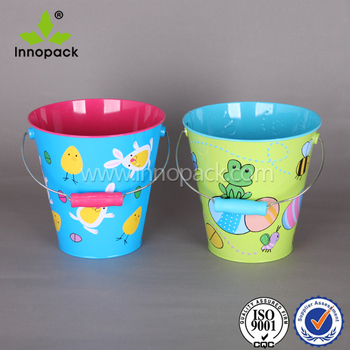 Easter Tin Bucket Decorative Printed Metal Bucket For Kids Wholesale