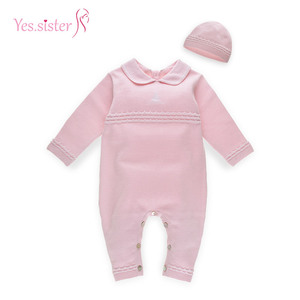 Wholesale Baby Clothes Girls Knitted Romper With Hat Sweater Manufacture In China
