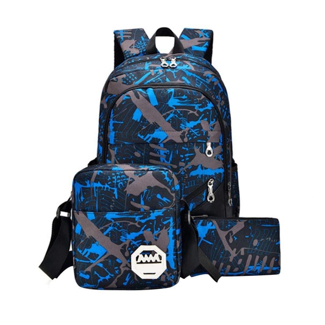 BCDshop Waterproof Oxford Fabric Backpack Women Men Rucksack Satchel+Shoulder Crossbody Bag+Tote Handbag Purse