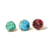 Beadsnice ID 29059 druzy ring unique jewelry natural colored quartz rings natural rough crystal quartz wholesale druzy rings