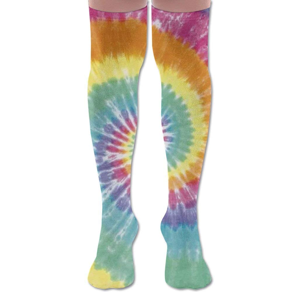 9b34f3005 Get Quotations · Unique Tye Dye Art Polyester Cotton Over Knee Leg High  Socks Cute Unisex Thigh Stockings Cosplay