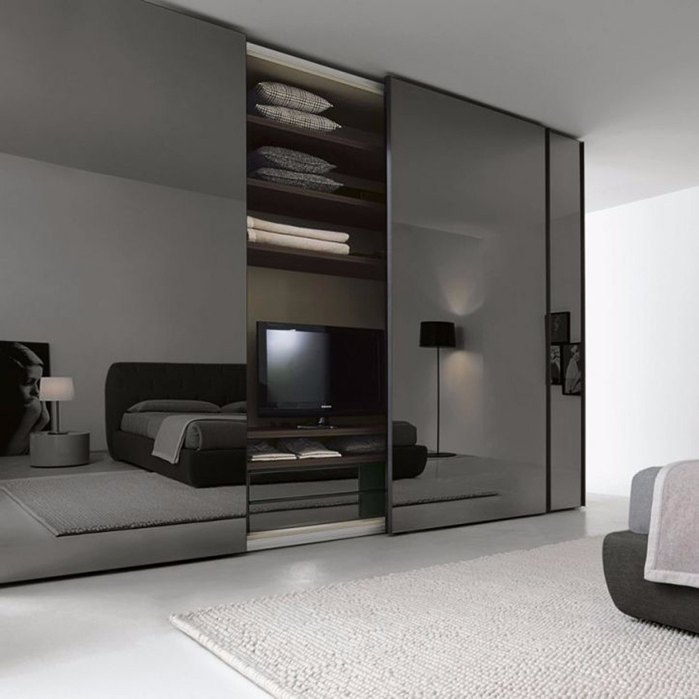 black mirror simple design high end bedroom wardrobe made in China