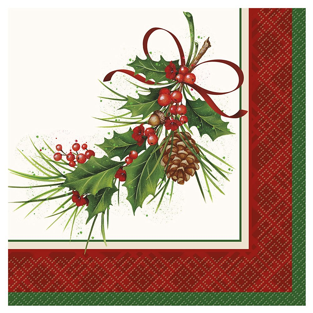 Holly Sprig Holiday Luncheon Napkins, 20ct